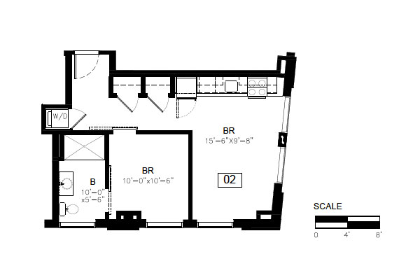 1 Bedroom Floor Plan, Unit 02