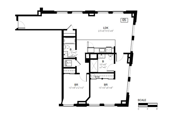 Floor plan, 2 bedroom 2 bath, Unit 5