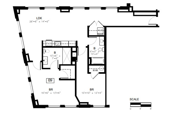 Floor plan, 2 bedroom 2 bath, Unit 9