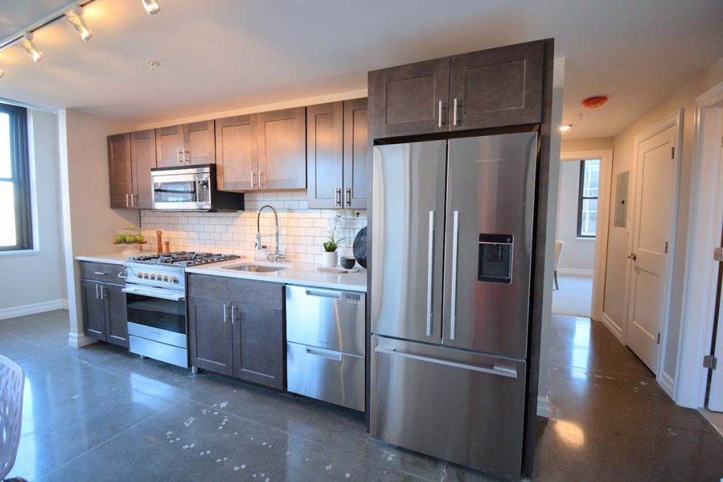 Gleaming Galley-style Kitchen